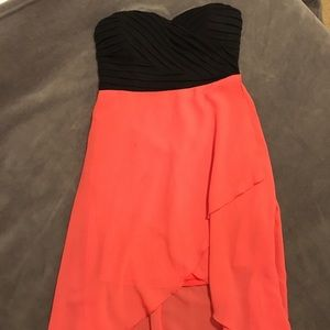 Coral Sweetheart High-Low Strapless Dress